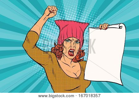 woman feminist protest at the rally. Retro pop art comic vector illustration. pussyhat