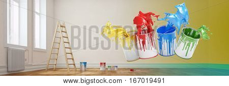 Renovation concept with paint buckets in different colors floating in empty room (3D Rendering)