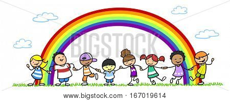 Cartoon of children dancing under rainbow as friendship and fun concept
