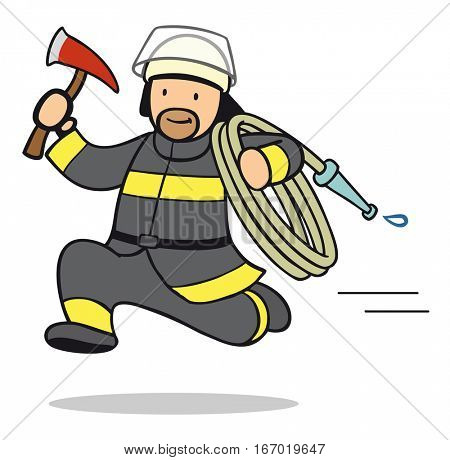 Firefighter cartoon running fast with ax and hose responding to emergency call