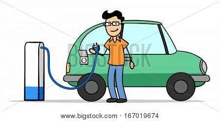 Man with electric car at charging station