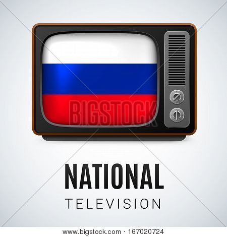 Vintage TV and Flag of Russian Federation as Symbol National Television. Button with Russian flag