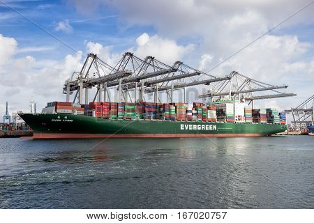ROTTERDAM NETHERLANDS - MAR 16 2016: Container ship Ever Lyric from Evergreen moored at the ECT container terminal in the Port of Rotterdam.