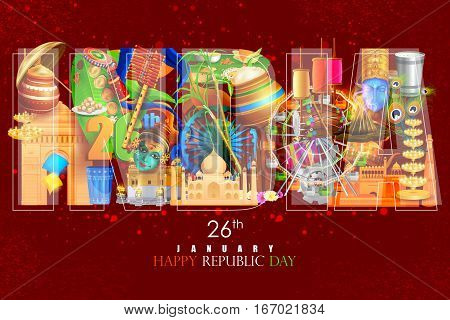 easy to edit vector illustration of Incredible Indian background for Happy Republic Day of India