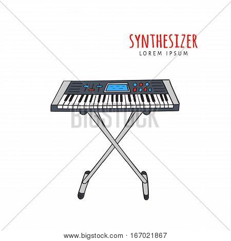 Electronic piano synthesizer vector illustration hand drawn doodle isolated. Musical instrument sketch. Music icon.