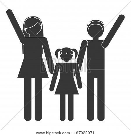 silhouette family mother father daughter together members traditional vector illustration eps 10