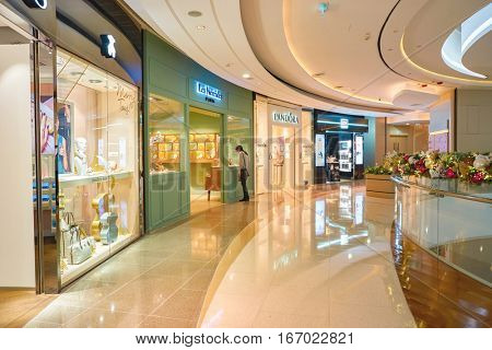 HONG KONG - CIRCA NOVEMBER, 2016: inside a shopping center in Hong Kong. Hong Kong shopping centers are some of the biggest and most impressive in the world