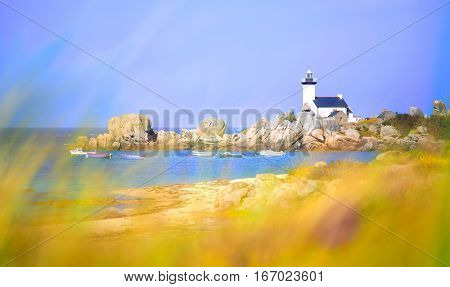 Pontusval Lighthouse, Brignogan, Finistere, France
