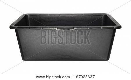 Rectangular heavy duty black plastic basin for construction works. Isolated on white.