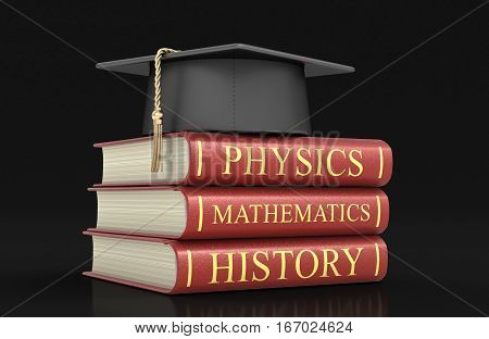 3D Illustration. Graduation cap and Stack of textbooks. Image with clipping path