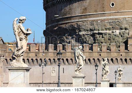 The Saint Angel bridge in Rome, Italy