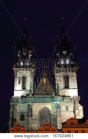 The towers of Church of Our Lady in front of Tyn by night Prague, Czech Republic