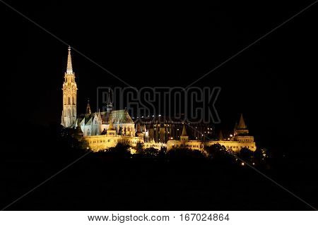 Landscape view of Budapest castle at night, Hungary