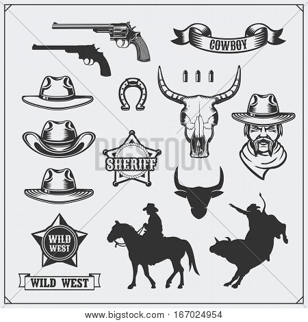 Wild west. Set of rodeo, sheriff and cowboy vintage emblems, icons and design elements.