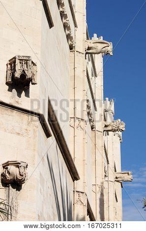 Gargoyles at La Lonja monument in Palma de Mallorca, Spain