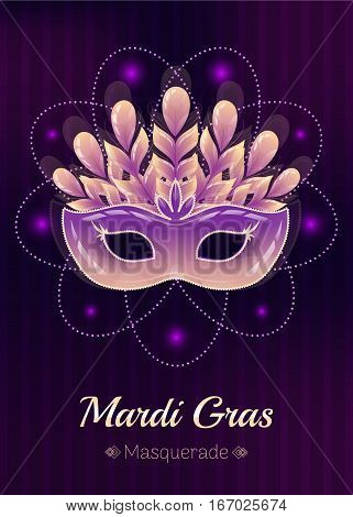 Masquerade mask colorful poster. Glossy yellow-purple carnival mask with feathers, beads and sparkles. Mardi Gras yellow sign. Violet background