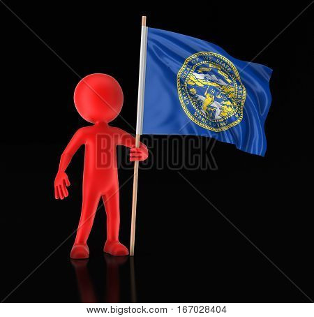 3D Illustration. Man and flag of the US state of Nebraska. Image with clipping path