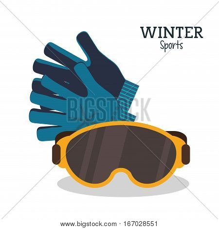 winter sport glasses and gloves protection vector illustration eps 10