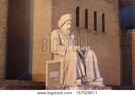 Statue Of Ibn Sina (avicenna)  In Front Of Erbil Fortress, North Iraq.