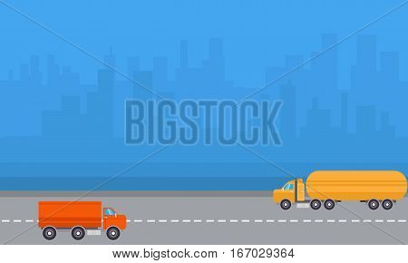 Vector of delivery and road tanker collection stock