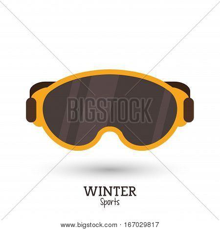 winter sport yellow mask ski icon vector illustration eps 10