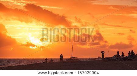 Beach In Red Morning Sunlight, Bavaro