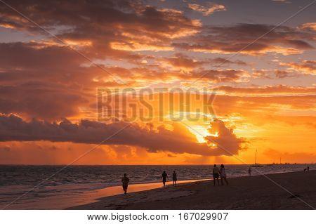 Coastal Caribbean Seascape At Sunrise
