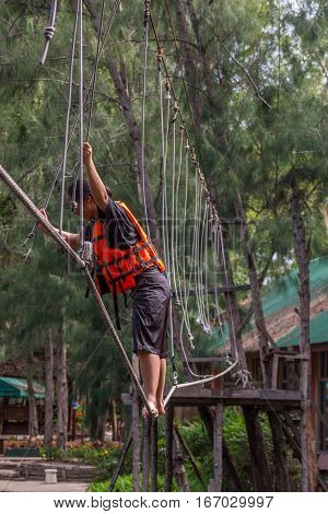 Asia people travel at adventure bases camp sky walker in Thailand