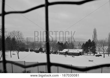 Chomutov, Czech Republic - January 20, 2017: Golf Club Restaurant Near Frozen And Snowy Kamencove Je