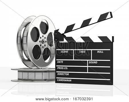cinema concept clapboard and film roll 3d rendering image