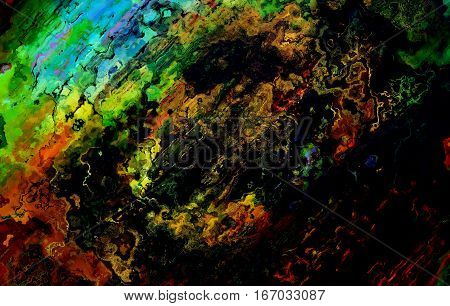 abstract colorful background with spots and linear structutes, computer graphic design