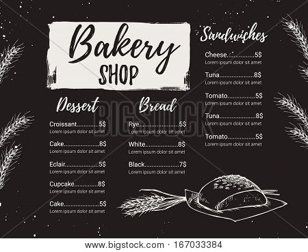 Hand Drawn Vector Illustration - Promotional Brochure Of Bakery. Perfect For Restaurant Brochure, Ca