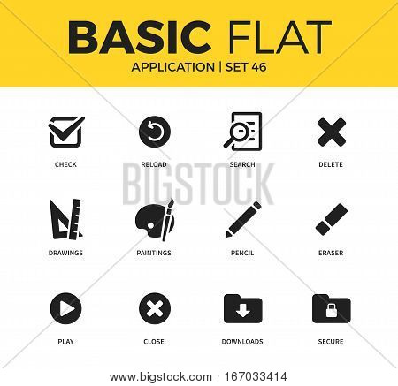 Basic set of paintings form, downloads form and reload form icons. Modern flat pictogram collection. Vector material design concept, web symbols and logo concept.