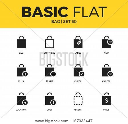 Basic set of bag plus form, minus bag form, new bag form, location bag form icons. Modern flat pictogram collection. Vector material design concept, web symbols and logo concept.