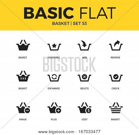 Basic set of basket, cost basket and exchange basket interface elements icons. Modern flat pictogram collection. Vector material design concept, web symbols and logo concept.
