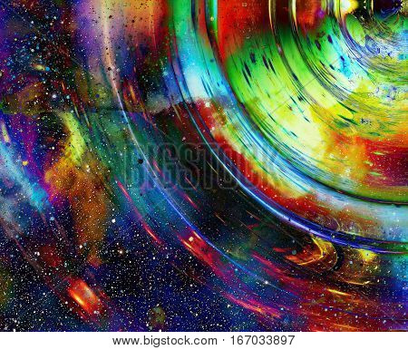 graphic concept of music in space, cosmic sound waves, computer design, music concept