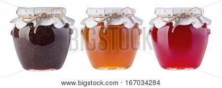 delicious jam in the pot isolated on white background