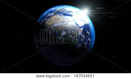 Earth globe from space with sun and clouds showing Africa Europe and Middle East, 3d illustration