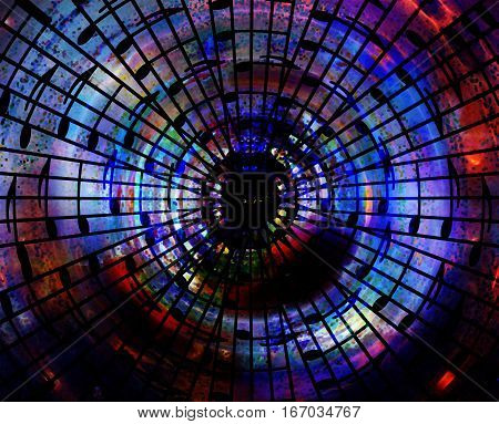 abstract symbol of music. mosaic structure and music note, computer graphic design