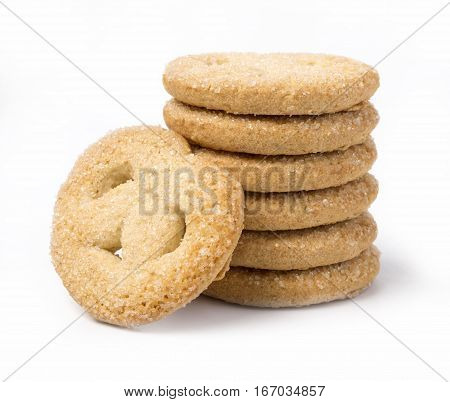 BISCUITS - A stack of delicious biscuits isolated on white Cookies