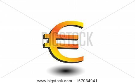 Golden euro symbol with shadow on a white isolated background. Finance and bussiness concept.