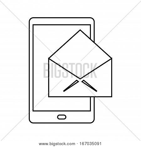 cellphone message email envelope thin line vector illustration eps 10