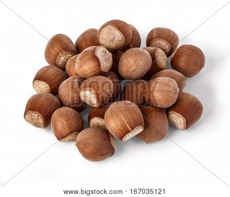 Hazelnuts on a white background hazelnuts food with clipping path