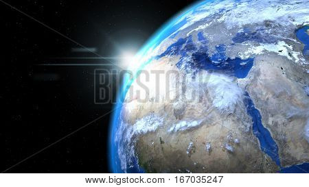Earth globe from space with sun and clouds close up showing Africa and Europe, 3d illustration