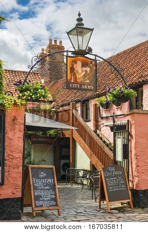 Wells, Somerset, England - JULY 29: The City Arms pub on July 29, 2015 in Wells, Somerset, UK. a great pub, food with fresh local ingredients