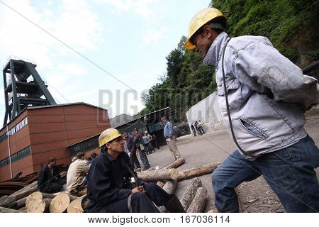 ZONGULDAK,TURKEY-MAY 19: The 2010 Zonguldak mine disaster occurred in Zonguldak Province, Turkey, on May 17, when 30 miners died in a firedamp explosion at the Karadon coal mine on May 19, 2010.