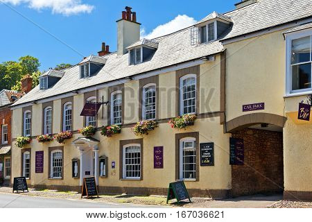 Minehead, Somerset, England - JULY 30: Dunster Castle Hotel on July 30, 2015 in Minehead, Somerset, UK. Located in National Park Dunster, 5-minute walk of St George's Church and Dunster Castle