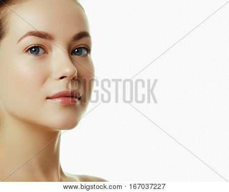 Beautiful Face Of A Young Caucasian Woman. Woman Beauty Face