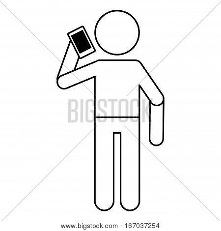 avatar using smarphone talking communication linear vector illustration eps 10