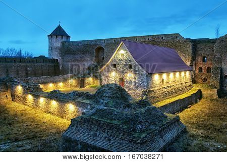 IVANGOROD, RUSSIA - JANUARY 1, 2017: Museum in Ivangorod Fortress. It is a former small gunpowder barn of 17 century. The fortress was built in 1492 and named after Grand Prince of Russia Ivan III
